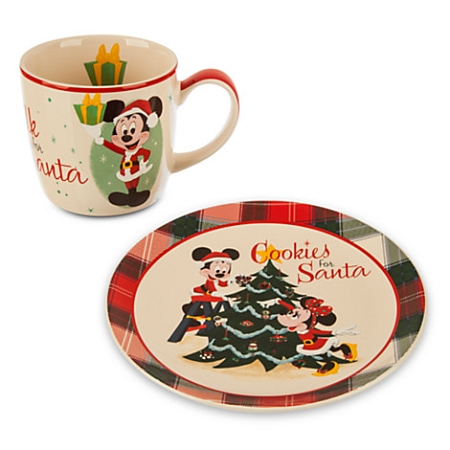 Disney Holiday Cookie Plate And Mug Set Cookies And Milk For Santa