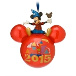 Disney Mickey Ears Ornament - 2015 Sorcerer Mickey Mouse on Top