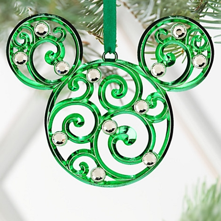 Disney Christmas Ornament - Bohemian Filigree Mickey Mouse - Green