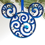 Disney Christmas Ornament - Bohemian Filigree Mickey Mouse - Blue