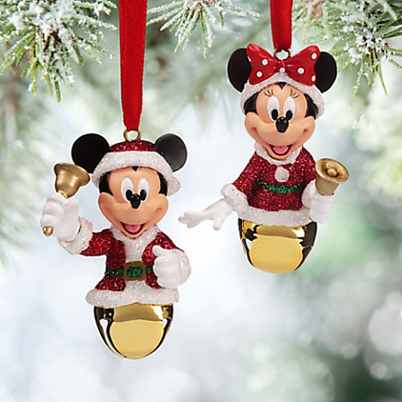 disney christmas ornament set mickey and minnie mouse bells - Mickey And Minnie Christmas Decorations
