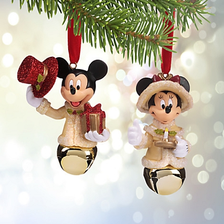 disney christmas ornament set victorian mickey and minnie bells