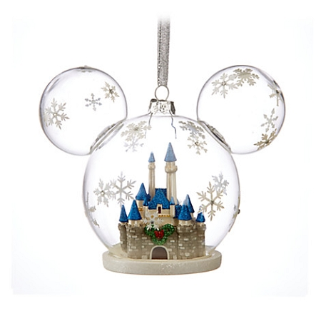 Disney Mickey Ears Ornament - Mickey Mouse Fantasyland Castle Globe