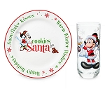 Disney Cookie Plate and Milk Glass Set - Santa Mickey and Minnie