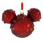 Disney Christmas Ornament - Mickey Mouse Icon - Red Ruby Gems