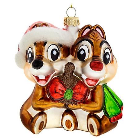 Disney Christmas Ornament Chip N Dale Glass Christ Fo772