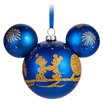 Disney Mickey Ears Christmas Ornament - Four Parks - Gold Glitter