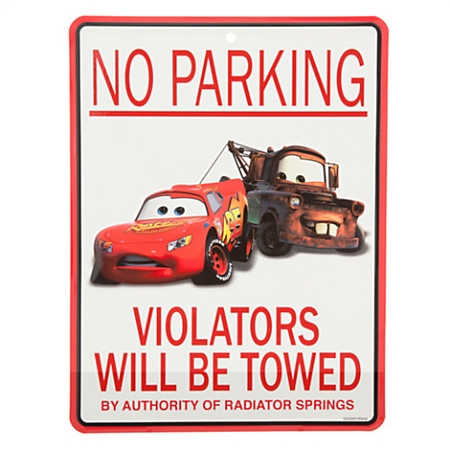 Disney Tin Sign - Cars - Lightning McQueen & Tow Mater - No Parking