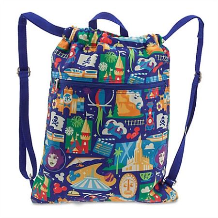Disney Cinchsack Backpack Bag Colorful Park Icons