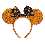 Disney Ears Headband Hat - Halloween - Minnie Mouse Sequined - Orange