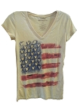 Disney Shirt for Women - Mickey Mouse Icon Flag - Americana - Tan