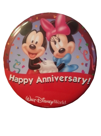 Disney Souvenir Button - Happy Anniversary - Mickey and Minnie Mouse