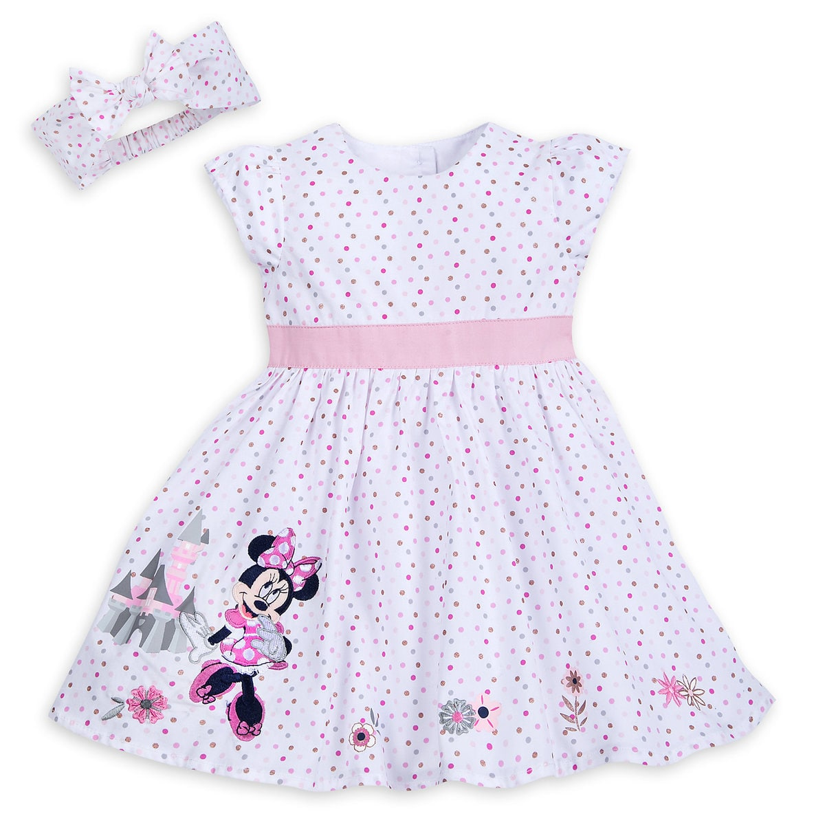 Disney Dress Set For Baby Minnie Mouse With Castle Pink