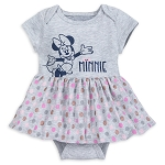 Disney Bodysuit with Skirt for Baby - Minnie Mouse Polka Dot - Gray