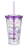 Disney Tumbler with Straw - Minnie Mouse Quotes - Purple