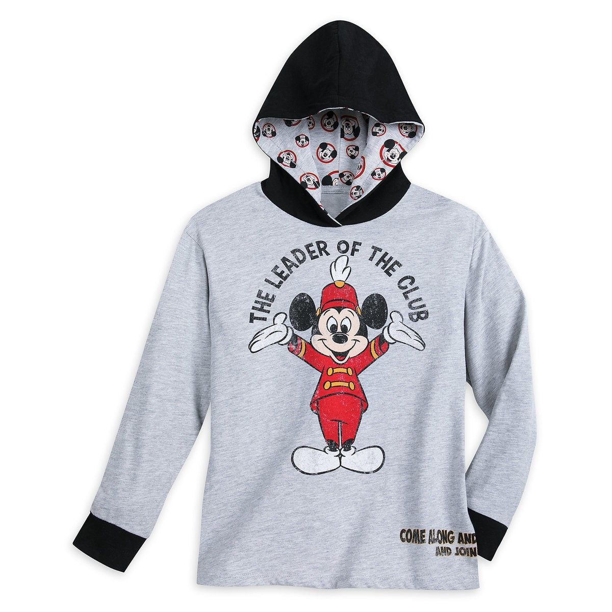 Disney Long Sleeve Hoodie for Boys - Mickey Mouse Club - Gray