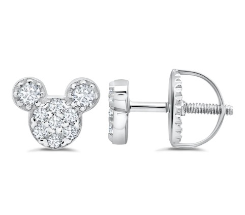 Disney Crislu Earrings for Kids - Mickey Mouse Stud - Color Choice