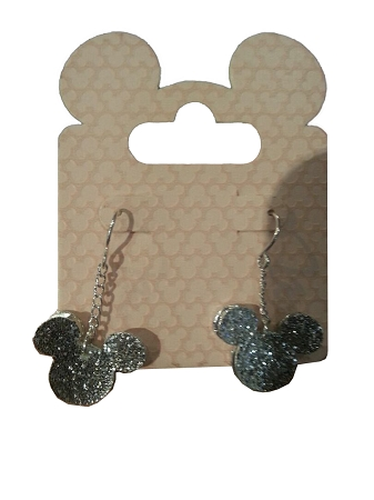 Disney Dangle Earrings - Mickey Mouse Layered Icon - Glitter Silver