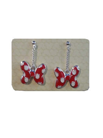 Disney Dangle Earrings - Minnie Mouse Bow - Red
