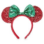 Disney Ears Headband Hat - Holiday Minnie Sequin Bow - Red and Green