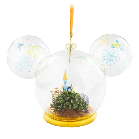 Disney Parks Mickey Mouse Icon Golden Rib Glass Ornament