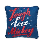 Disney Throw Pillow - Mickey Mouse Americana - Laugh Love Mickey