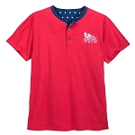 Disney Shirt for Men - Mickey Americana Henley Tee - Red
