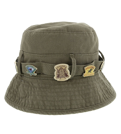 Disney Hat - Bucket Hat - Animal Kingdom Pin Hat - Tan