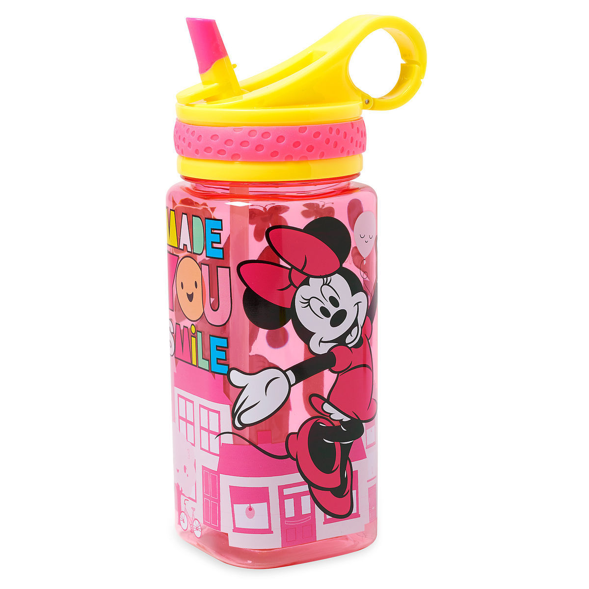 Disney Water Bottle - Minnie Mouse with Built-In Straw