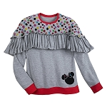 Disney Boutique Shirt for Women - Minnie Mouse Ruffled Top - Gray