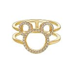 Disney CRISLU Ring - Mickey Mouse Open Icon - Gold