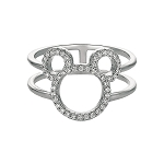 Disney CRISLU Ring - Mickey Mouse Open Icon - Platinum