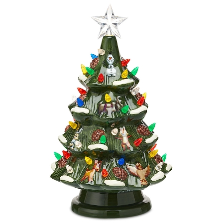Disney Holiday Tree Figure Retro Ceramic Light Up
