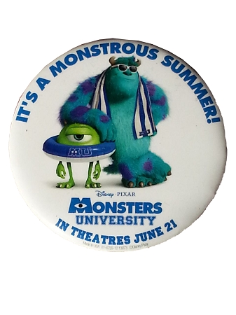 Disney Souvenir Button Pin - Monsters University - Mike & Sulley