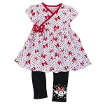 Disney Girls Top and Leggings Set - Minnie Mouse Bow Crazy