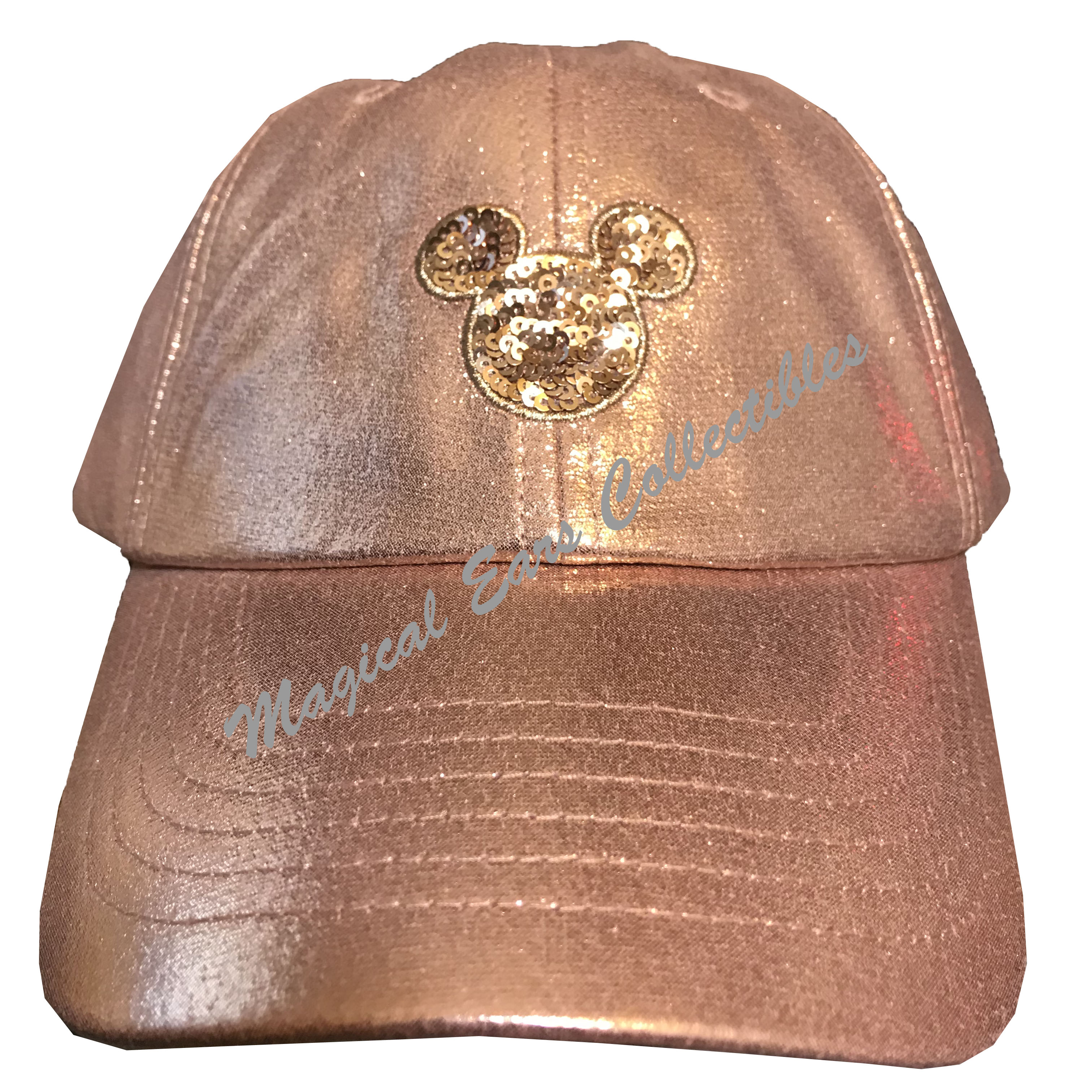 1af0b4b4a36 Disney Hat - Baseball Cap - Mickey Mouse Sequined - Rose Gold