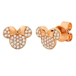 Disney CRISLU Stud Earrings - Minnie Mouse Icon - Rose Gold