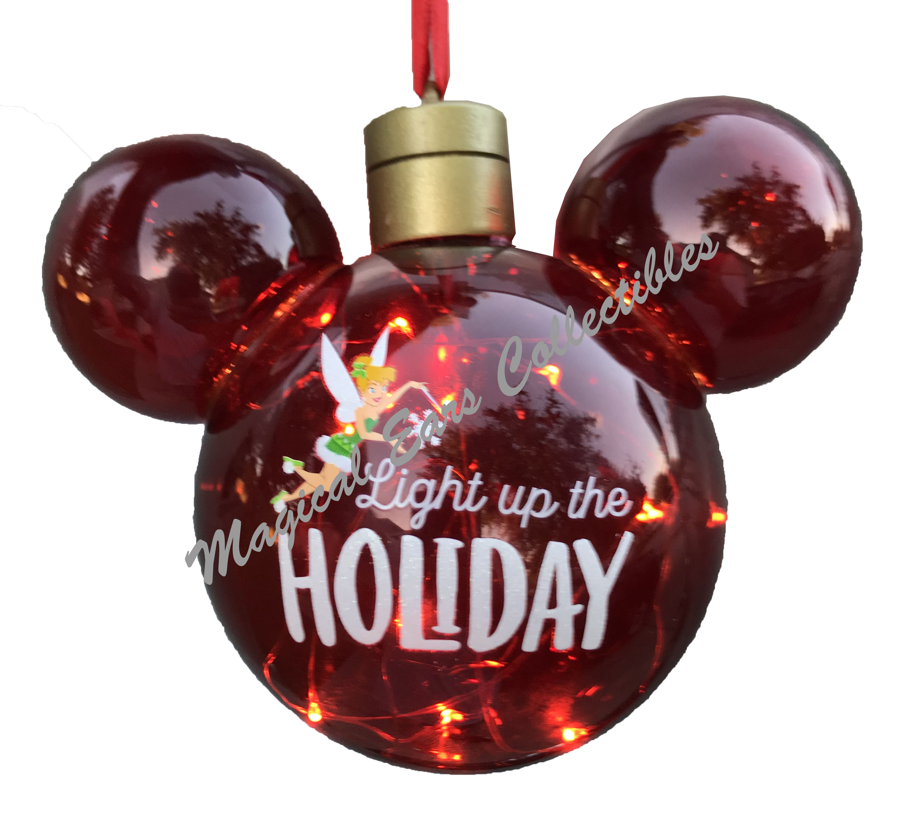 Disney Christmas Ornament Mickey Mouse Ears Light Up The Holiday