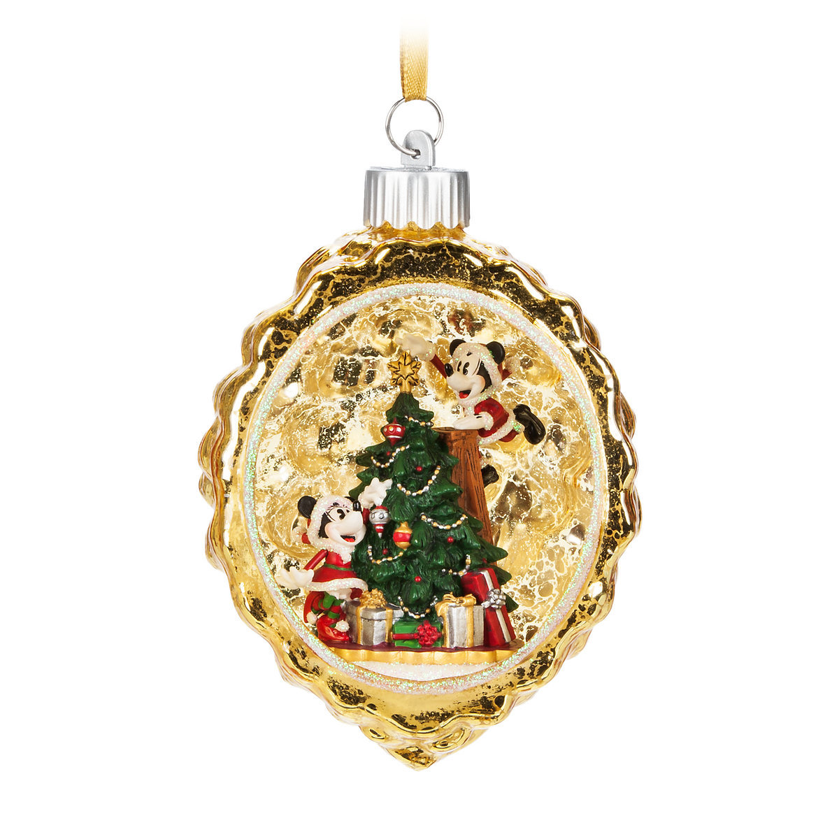 Disney Christmas Ornament Mickey And Minnie Light Up Scene