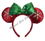 Disney Headband Hat - Holiday Minnie Mouse Ears - Snowflakes