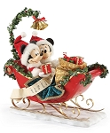 Disney Department 56 Figurine - Mickey and Minnie Sleigh - Holiday