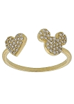 Disney Crislu Ring - Mickey Icon and Heart - Gold
