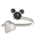 Disney Ring - Mickey Icon and Heart - Black - Adjustable