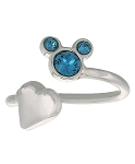 Disney Ring - Mickey Icon and Heart - Blue - Adjustable