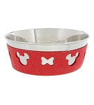 Disney Tails Pet Bowl - Minnie Mouse Bows - Silicone