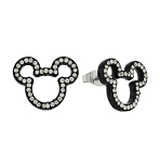 Disney Earrings - Mickey Mouse - Jeweled Cut Out - Black