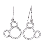 Disney Crislu Drop Earrings - Mickey O - Silver
