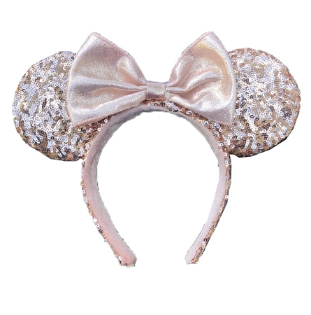 disney ears headband hat minnie sequin bow rose gold. Black Bedroom Furniture Sets. Home Design Ideas