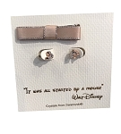 Disney Post Earrings - Mickey Mouse Icon with Gift Bag - Rose Gold