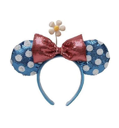 Blue Polka Dot Disney Princess Ears with Ear Saver and Matching Mask